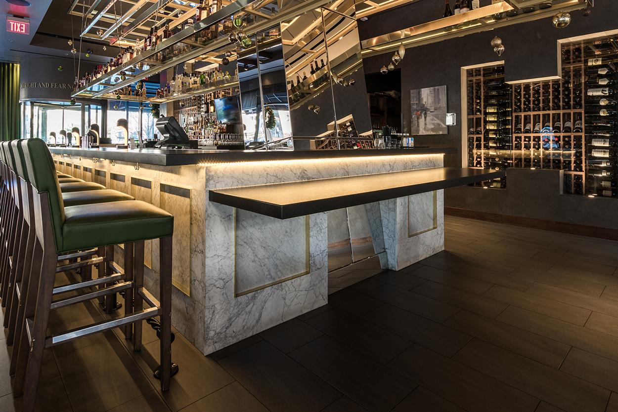white carrara marble bar panels