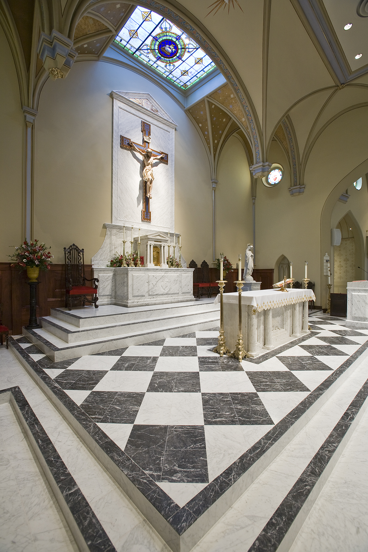 White Carrara Grigio Carnico honed marble Basilica of Saint Mary